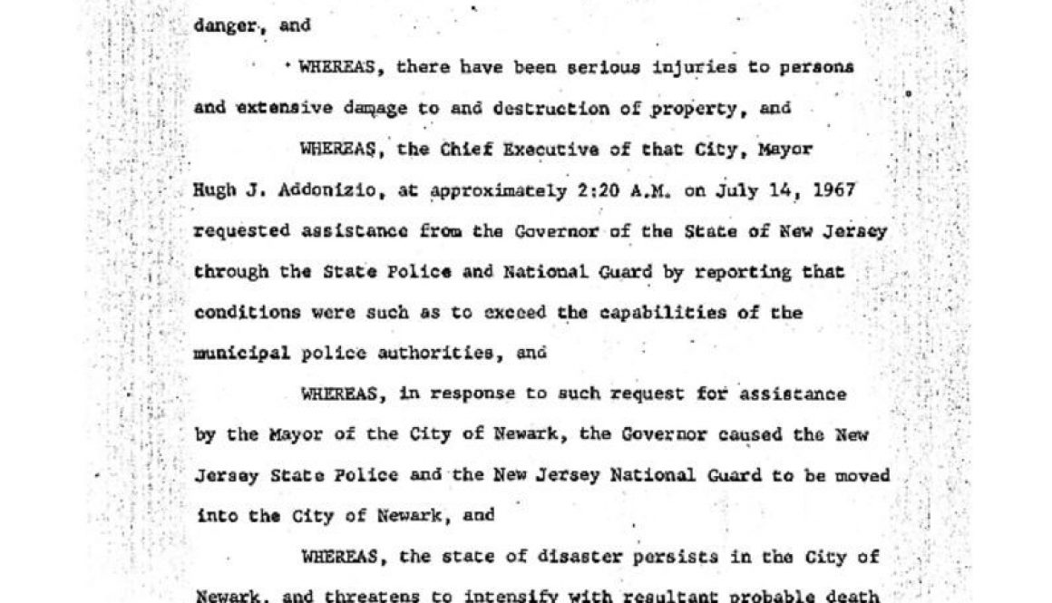 thumbnail of Proclamation of Gov Hughes Declaring State of Emergency- July 14, 1967