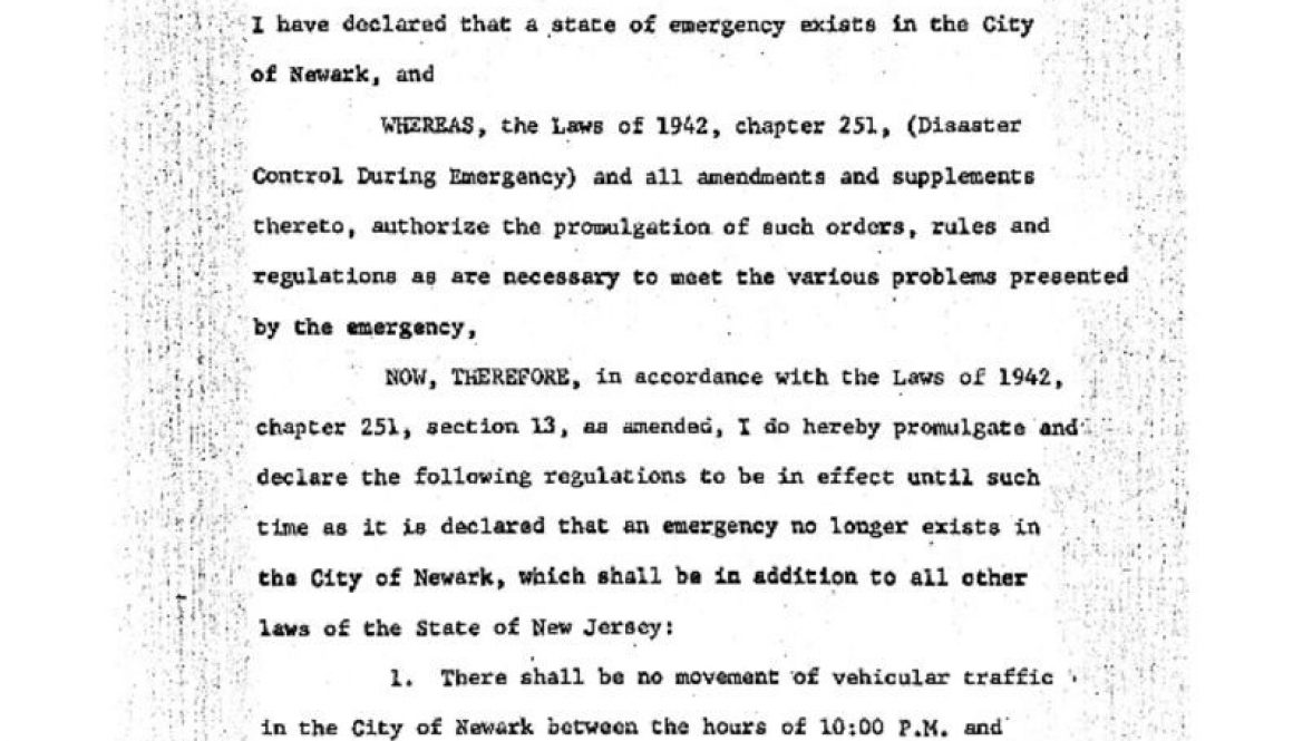 thumbnail of Proclamation of Gov Hughes on Emergency Regulations- July 14, 1967 (1)