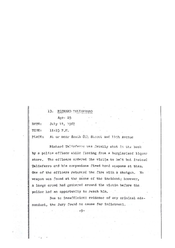 Grand Jury Report on Death of Richard Taliaferro
