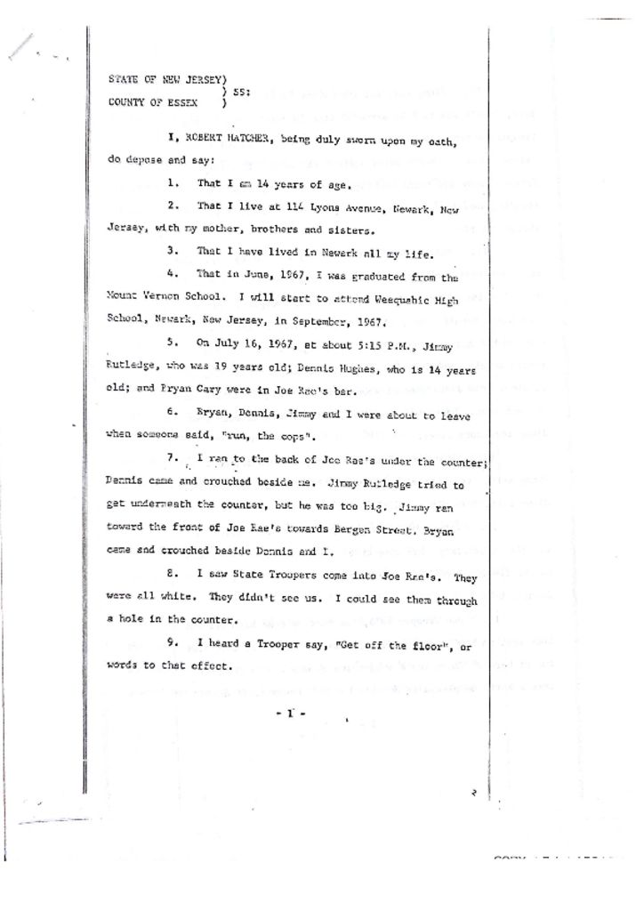 Deposition of Robert Hatcher on James Rutledge