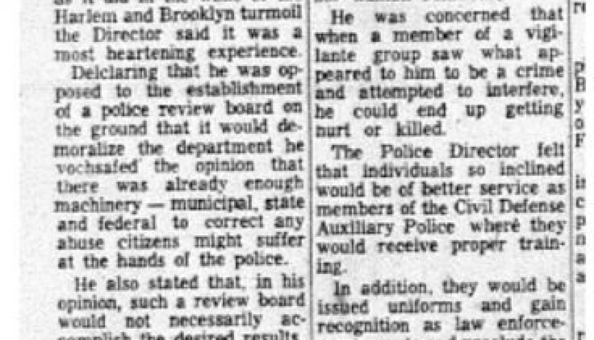 thumbnail of Spina tells how he hopes to keep riots out of Newark (NJ Afro American Aug15,1964)