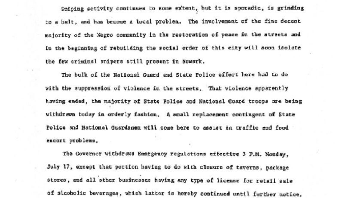 thumbnail of Statement by Gov Richard J Hughes at Newark Armory, Monday Morning, July 17, 1967, at Noon