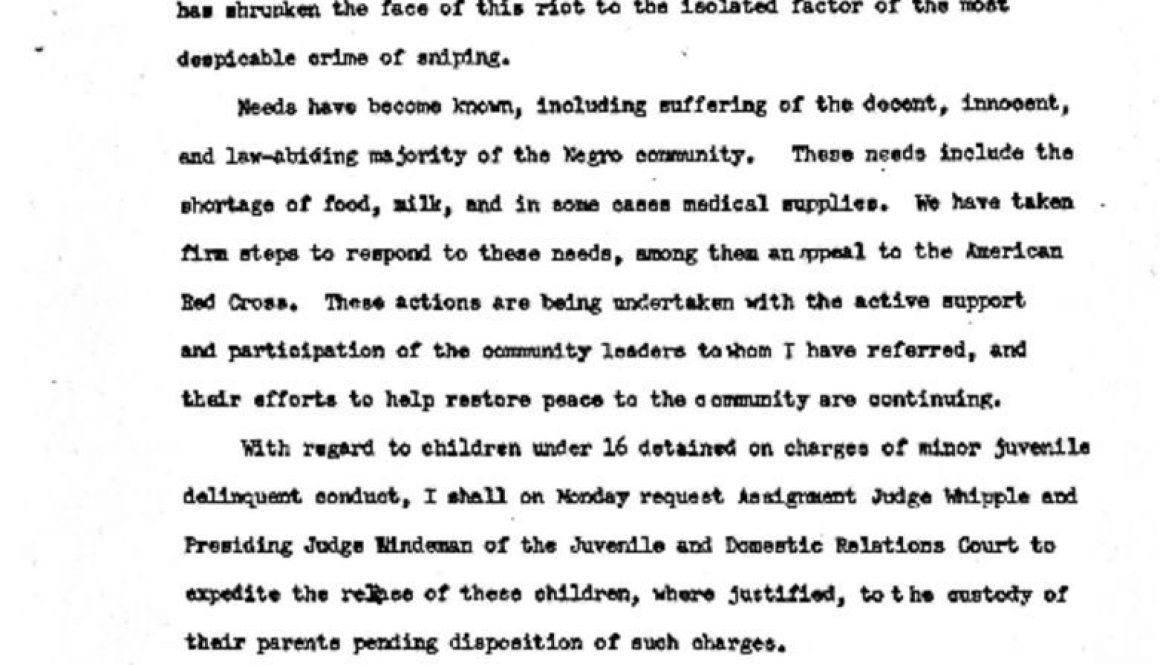 thumbnail of Statement of Gov Richard J Hughes at Newark Armory, Sunday Morning, July 16, 1967, at 5 O'Clock