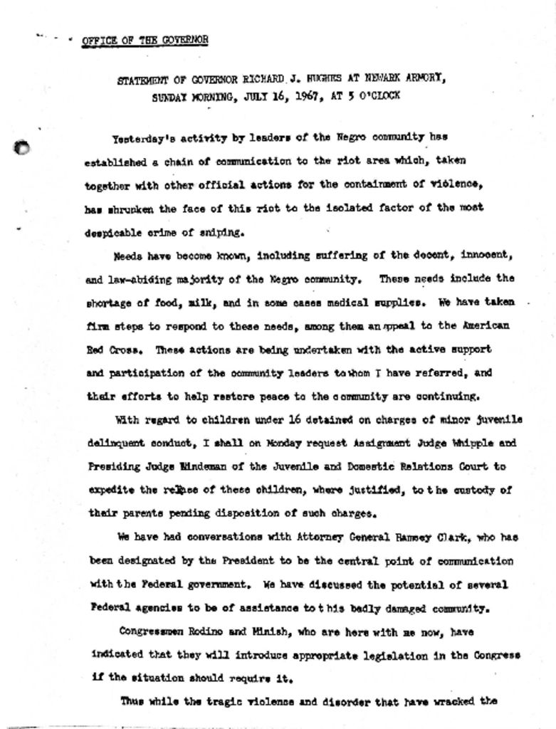 Gov. Hughes Statement at Newark Armory (July 16, 1967)
