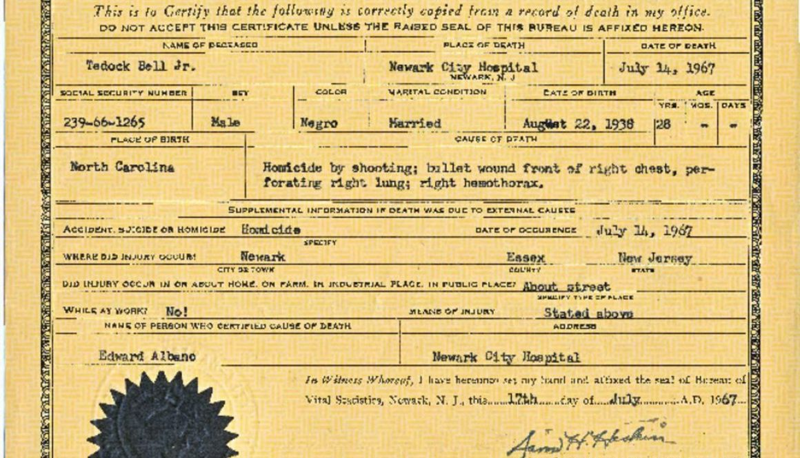 thumbnail of Tedock Bell Death Certificate (JWW Files)
