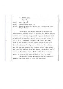 "Grand Jury report describing the fatal shooting of 28-year-old Tedock Bell on July 14, 1967, who was ""shot by an unidentified Newark police officer who had called him to halt."" The Grand Jury found ""no cause for indictment."" -- Credit: Newark Public Library"