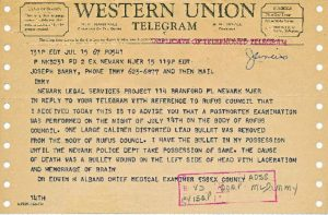 "Telegram sent on July 15, 1967 from Dr. Edwin Albano, Essex County Chief Medical Examiner, to Newark Legal Services Project, regarding the postmortem examination of Rufus Council. Albano attributed the death to ""a bullet wound on the left side of the head with laceration and hemorrage of brain."" -- Credit: Junius Williams Papers"