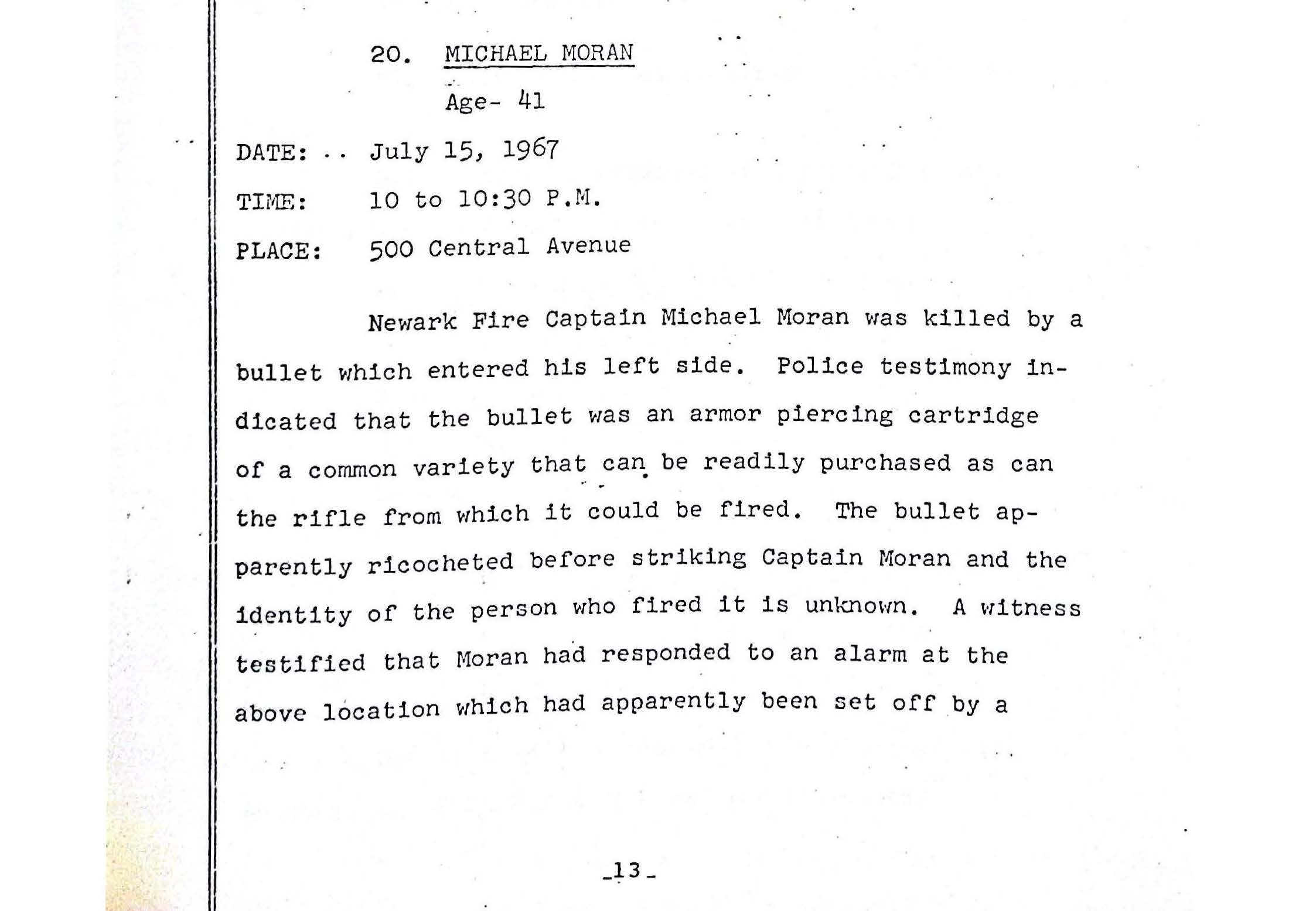 Grand Jury Report on Death of Michael Moran