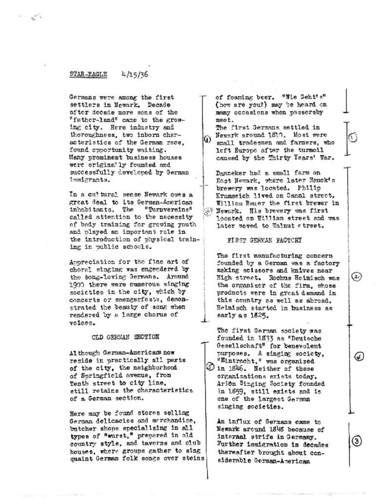 Timeline of Germans in Newark