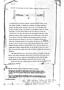 """Report by Tom Hayden, titled """"Killing of Two People on Avon Avenue, Thursday Afternoon July 15,"""" in which he reports on witness testimony of the fatal shooting of William Furr. The second victim that Hayden refers to is 12-year-old Joe Bass, who was rumored to be killed, but survived. -- Credit: junius Williams Papers"""