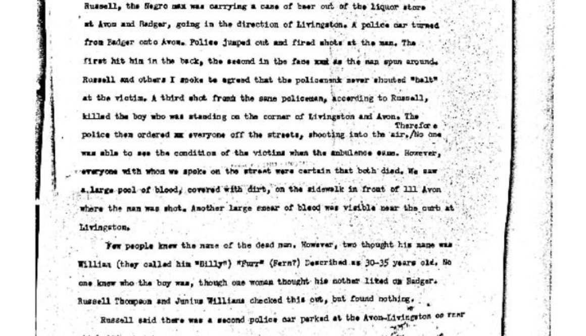 thumbnail of Tom Hayden Report- Killing of Two People on Avon Ave