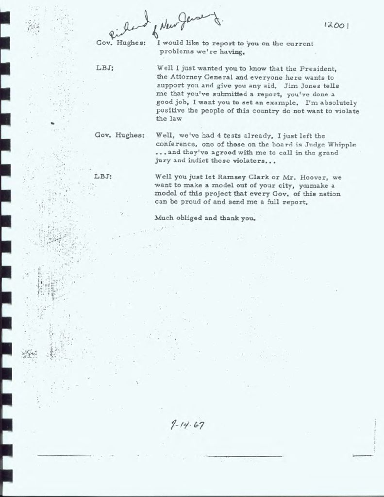 Transcript of Phone Call Between LBJ and Gov. Hughes