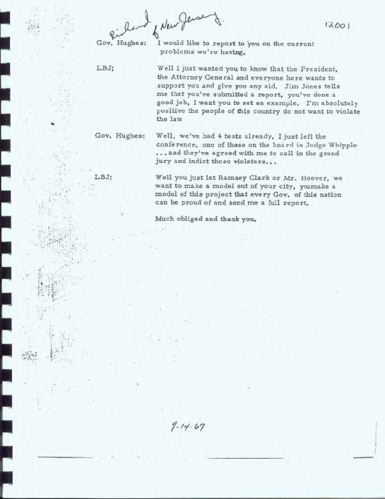 Transcript of Phone Call Between LBJ and Gov. Hughes
