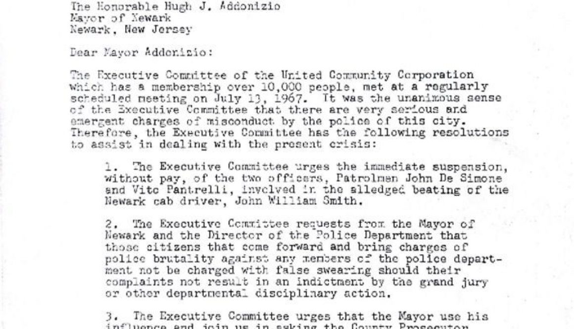 thumbnail of United Community Corporation Letter to Mayor Addonizio (July 14, 1967)