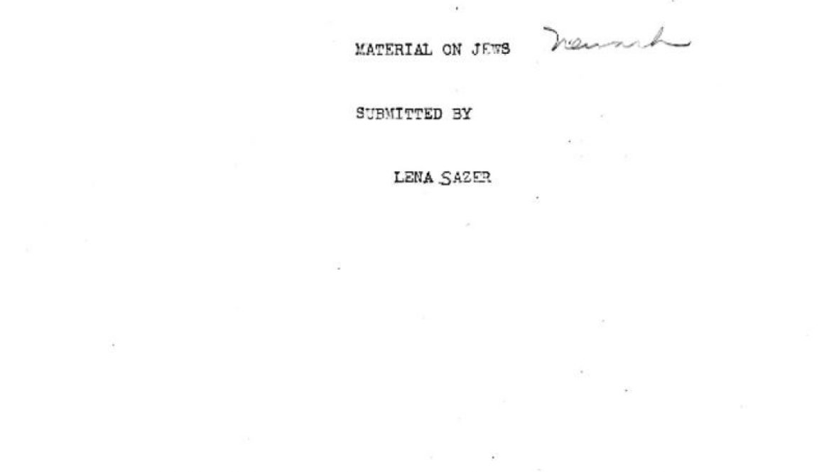 thumbnail of WPA Materials on Jews in Newark- June 12, 1940