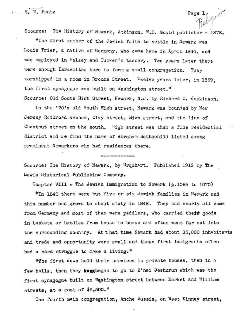 WPA Notes on Jewish History