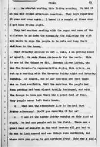 Witness Testimony from Timothy Still, President of the UCC, before the Governor's Select Commission on Civil Disorders hearings. Still describes the outreach efforts of the United Community Corporation and other organizations in cooperation with Governor Hughes to address the needs of the community during the 1967 Newark rebellion. -- Credit: Rutgers University Digital Legal Library Repository