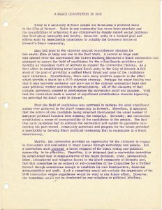 """Statement of purpose and mission for the 1969 Black and Puerto Rican Convention. The Convention was organized by an array of inviduals and organizations in Newark to formally select the """"Community's Choice"""" for Mayor and City Council in the 1970 election."""
