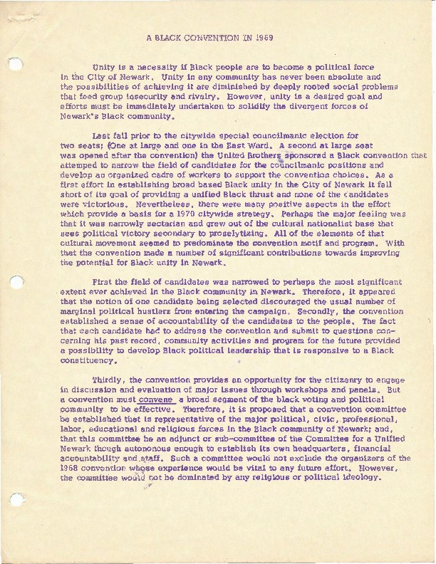 A Black Convention in 1969 (Statement of Purpose for a Black and Puerto Rican Political Convention)
