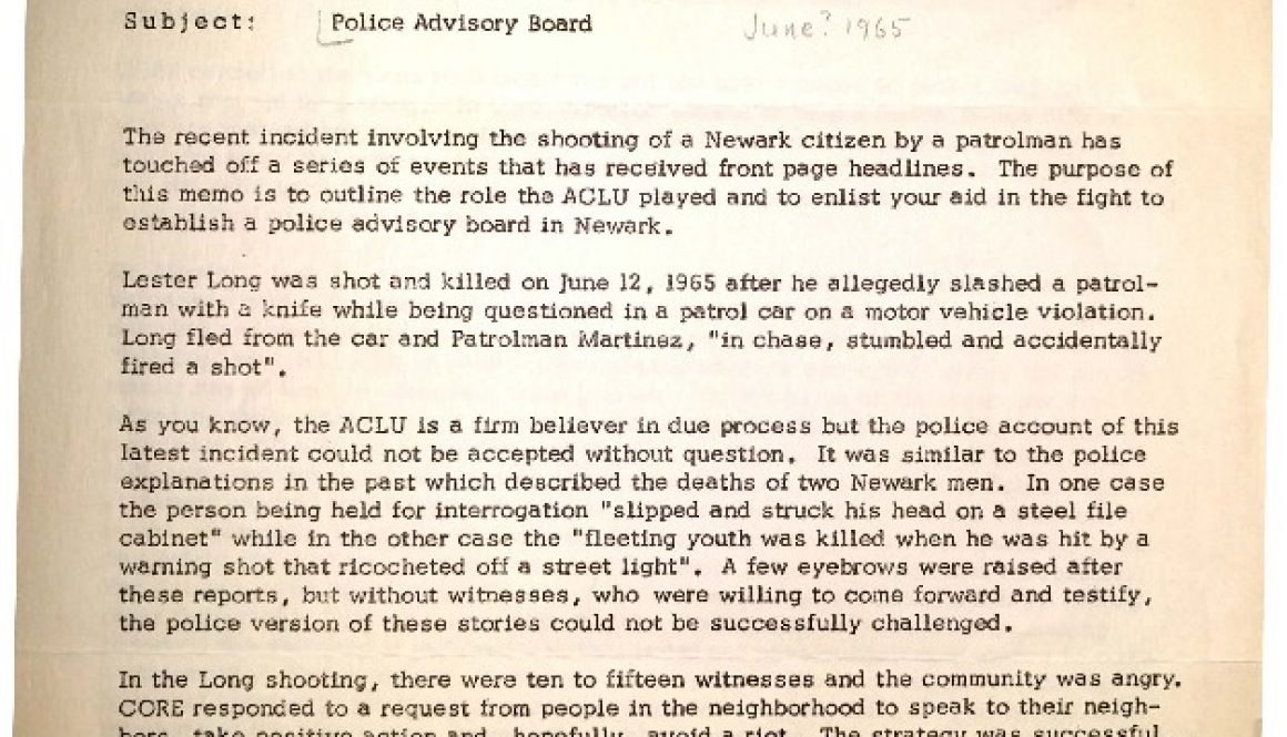 thumbnail of ACLU Newsletter on Lester Long and Police Advisory Board (June 1965)