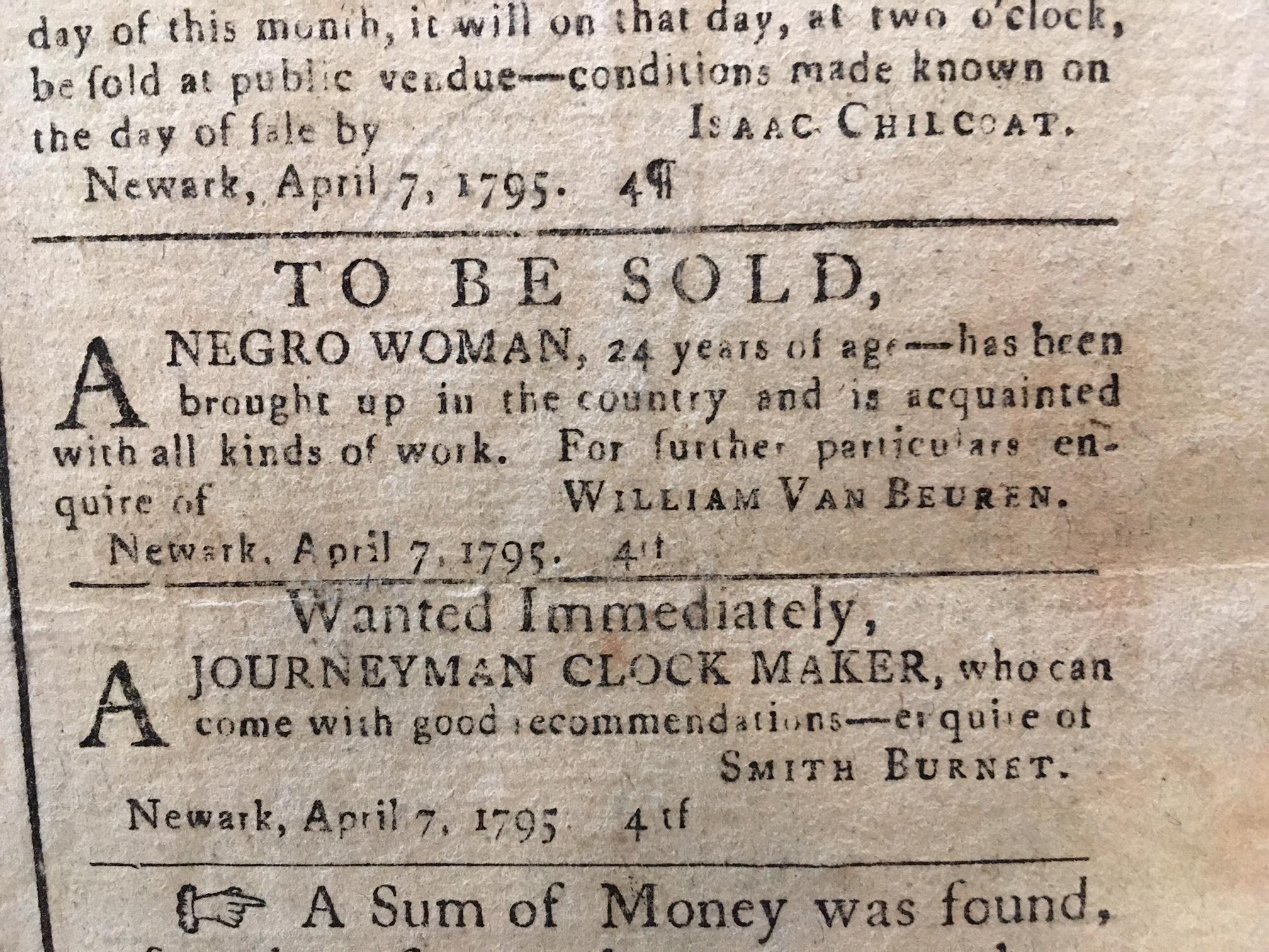 Advertisement for Slave Sale  April 8, 1795