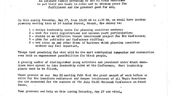 thumbnail of Announcement of Planning Session for the National Conference on Black Power, 1967