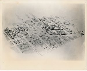 A planning artist's design of the proposed site of the College of Medicine and Dentistry in Newark's Central Ward. The original plans for the school called for over 150 acres of urban renewal land that would have displaced approximately 20,000 Black and Puerto Rican residents of the Central Ward. -- Credit: Junius Williams Collection