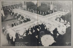 Some of Newark's Portuguese community hold a banquet at the Robert Treat Hotel to honor the aviators of the Lisbon-Macau Raid on August 24, 1924. -- Credit: Newark Public Library