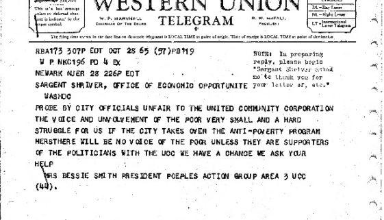 thumbnail of Bessie Smith Telegram to Sargent Shriver (Oct. 28,1965)