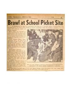 Clipping from The Daily News on July 4, 1963, covering the violent conflicts that broke out at the Barringer High School Construction site the day before. Members of the Newark Coordinating Council and their supporters were attacked by construction workers and police officers as they demonstrated against hiring discrimination in the building and construction industries at the construction site. -- Credit: Newark Public Library