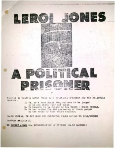 Flyer distributed to protest the arrest and trial of LeRoi Jones (Amiri Baraka), who was arrested and beaten by police during the 1967 Newark rebellion on allegations of gun possession. Newark Police alleged that the flyer was printed and distributed by the United Community Corporation at 124 Branford Place in Newark. -- Credit: New Jersey State Archives