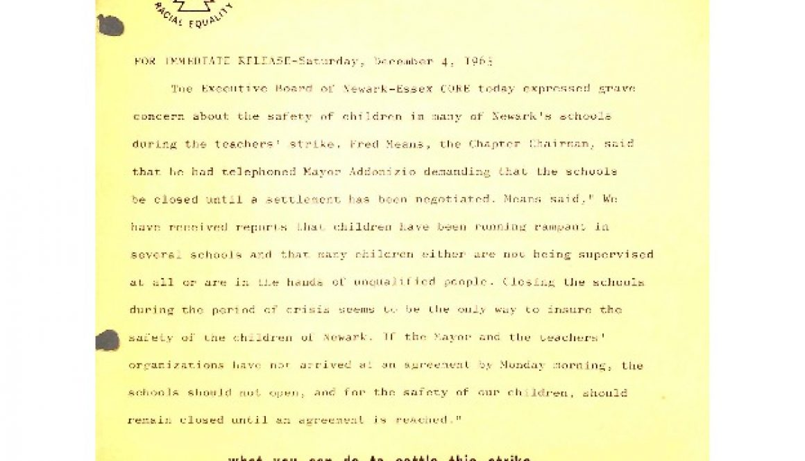 thumbnail of CORE Flyer- Negro Community Supports Newark Teachers Union (Dec 4, 1965)