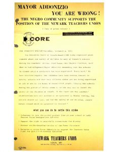 Flyer distributed by the Congress of Racial Equality (CORE) to encourage support for the Newark Teachers Union strike in December, 1965. -- Credit: Newark Public Library