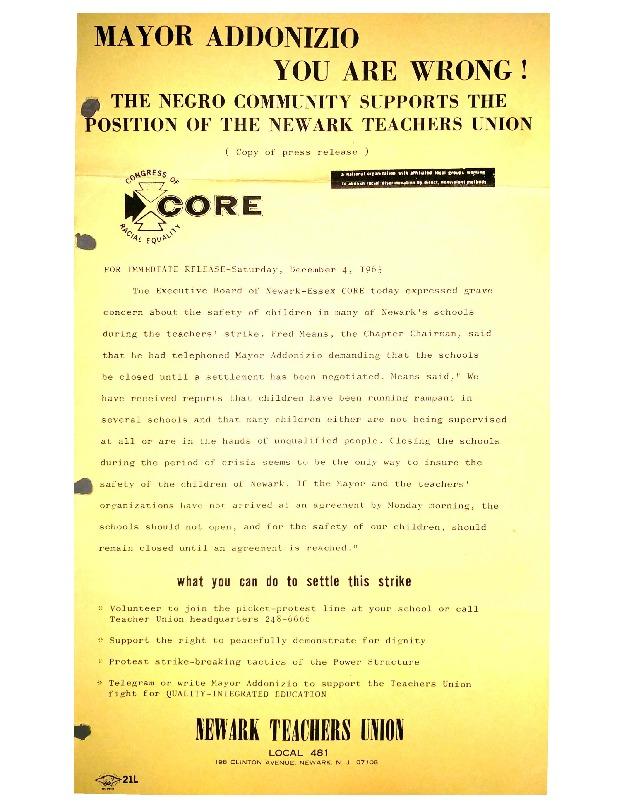 Negro Community Supports Newark Teachers Union