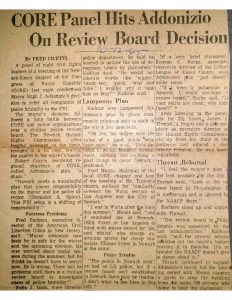 "Clipping from an unmarked newspaper covering a meeting of the Congress of Racial Equality (CORE) on October 11, 1965. The meeting, attended by roughly 100 people, was held to address Mayor Addonizio's responses to community demands for a police review board in Newark. Those who attended the meeting, including Robert Curvin, Fred Means, and Carl Katidus, criticized the shortcomings of Addonizio's proposals for police reform. Newark Human Rights Commission director James Threatt was ""booed repeatedly"" when he spoke in support of Addonizio's plans. -- Credit: Newark Public Library"