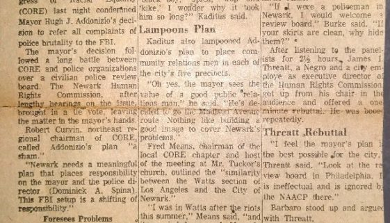 thumbnail of CORE Panel Hits Addonizio on Review Board Decision (Oct 12, 1965)