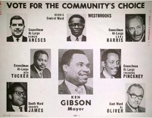 "Campaign flyer for the 1970 Mayoral and City Council elections in Newark. ""The Community's Choice,"" seen on the flyer, was nominated during the 1969 Black and Puerto Rican Convention."