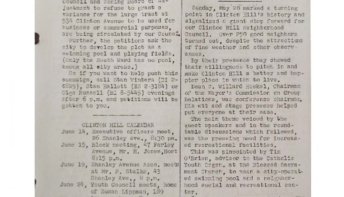 thumbnail of Clinton Hill Neighborhood Council Newsletter (June 15, 1956)