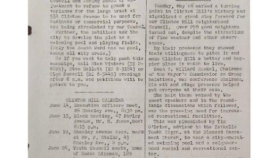 thumbnail of Clinton Hill Neighborhood Council Newsletter (June 15, 1956)