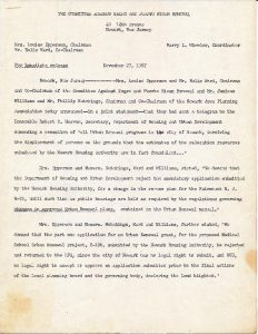 """Press release from the Committee Against Negro and Puerto Rican Removal, led by Louise Epperson, Eulis """"Honey"""" Ward, and Harry Wheeler, announcing a telegram sent to Robert C. Weaver of the Department of Housing and Urban Development to demand the cessation of all urban renewal projects in Newark. -- Credit: Junius Williams Collection"""