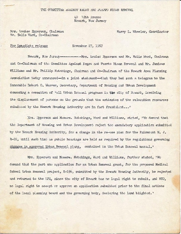 Committee Against Negro and Puerto Rican Removal Press Release (Nov 27, 1967)-ilovepdf-compressed - The North | Newark