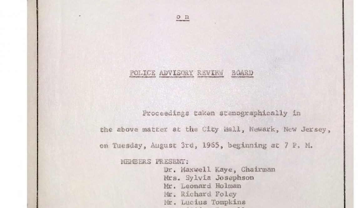 thumbnail of Cover Page from Transcript of Newark Human Rights Commission Hearing on Police Advisory Review Board (August 3, 1965)