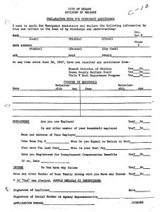 Application form for emergency assistance through the City of Newark's Division of Welfare. The regulations for welfare recipients could be very strictly enforced, particularly in regards to living arrangements and sources of income, and could result in termination of benefits. -- Credit: New Jersey State Archives