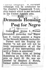 Clipping from an unmarked newspaper on March 8, 1955, reporting on Councilman Irvine Turner's calls for Mayor Carlin to appoint an African American to the Newark Housing Authority. -- Credit: Newark Public Library