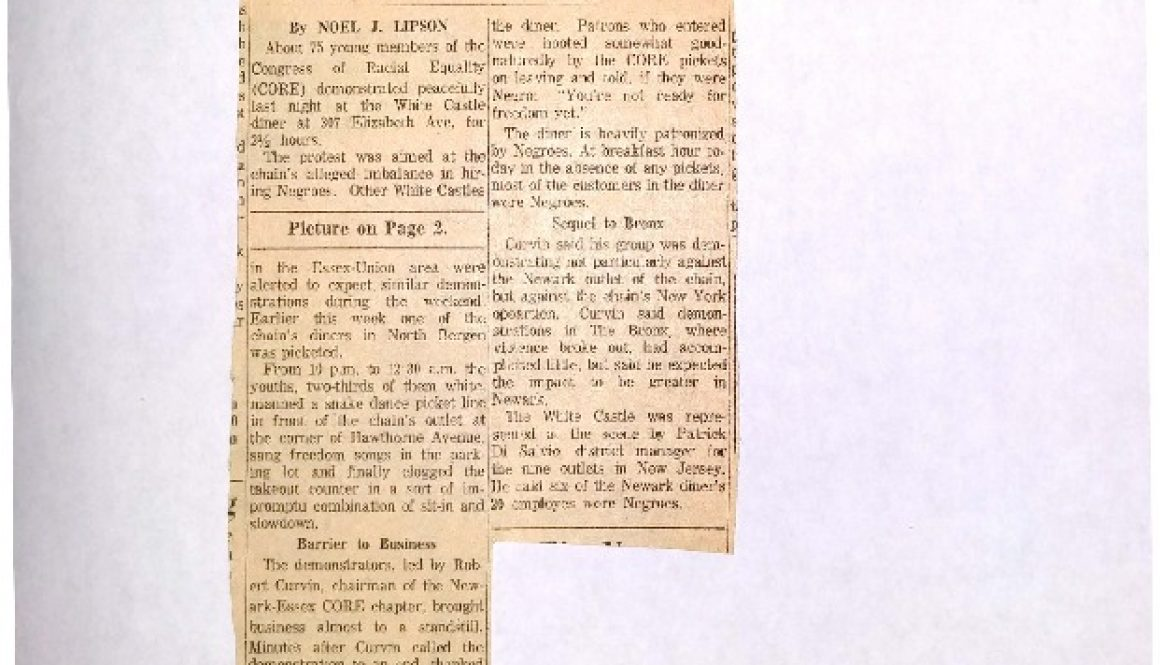 thumbnail of Diner Picketed- CORE at Newark White Castle (Newark Evening News July 20, 1963)