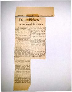 Article from the Newark Evening News on July 20, 1963 covering demonstrations at the White Castle on Elizabeth Avenue led by the Congress of Racial Equality (CORE). CORE picketed at the diner to protest discrimination in hiring practices, as nearly all of the diner's staff was white in a predominantly Black neighborhood.  -- Credit: Newark Public Library