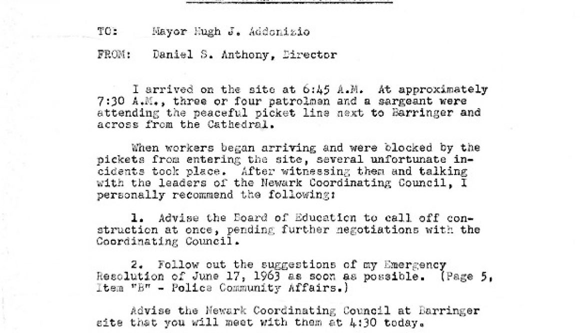 thumbnail of Emergency Memo on Barringer HS Incident from Daniel Anthony to Addonizio- Jul 3, 1963