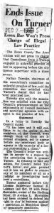 Clipping from an unmarked newspaper on December 7, 1956, reporting on allegations of illegal law practice by Councilman Irvine Turner. -- Credit: Newark Public Library