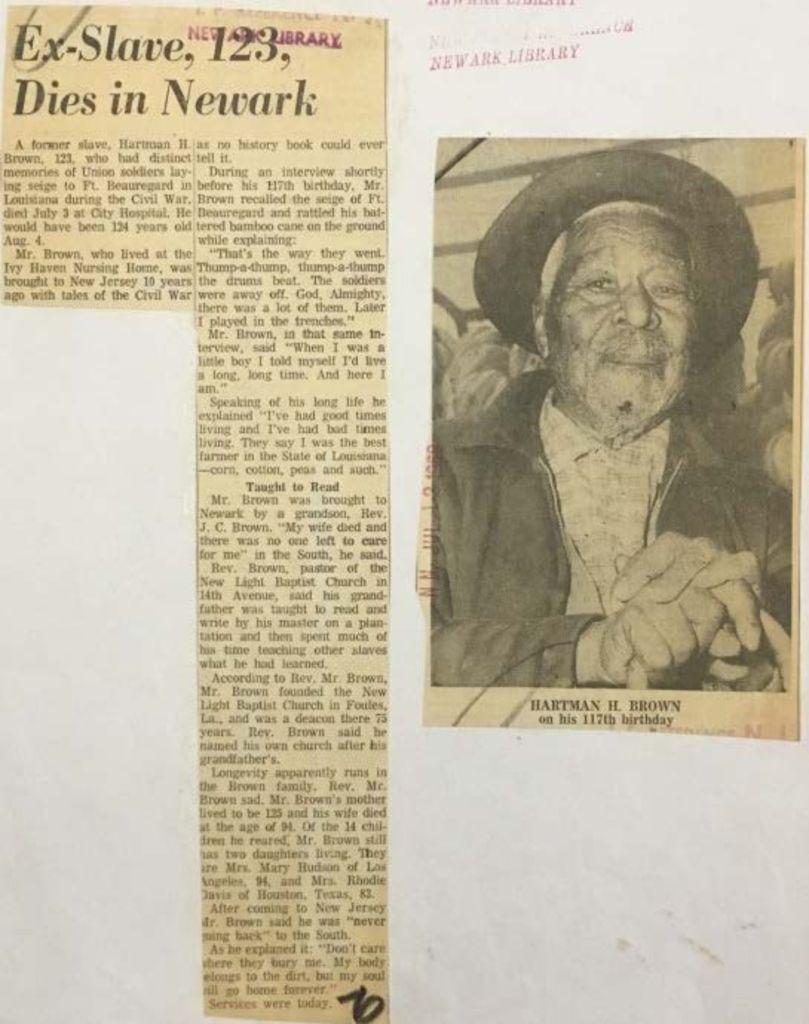 Ex-Slave, 123, Dies in Newark