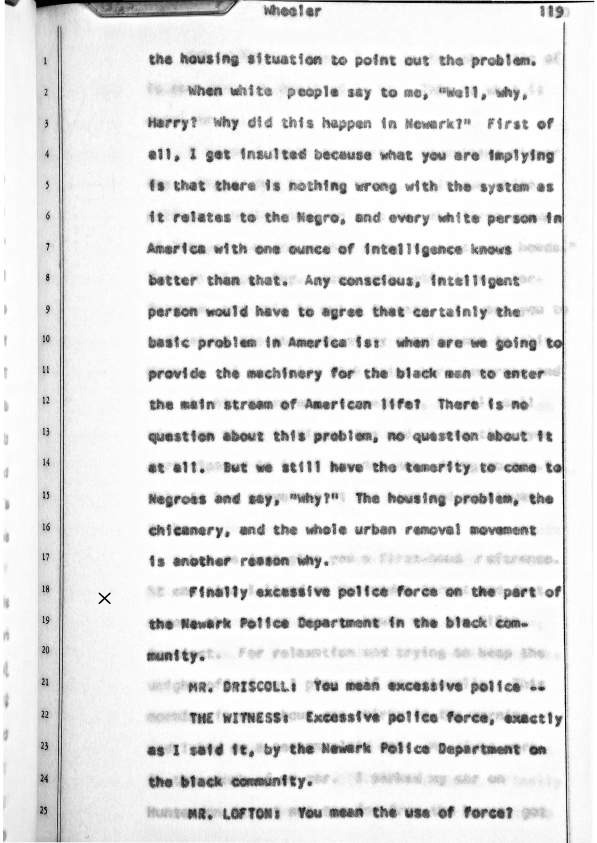 Excerpt from Witness Testimony of Harry Wheeler